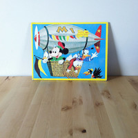 Disney Characters Flying: Frame Tray Jigsaw Puzzle Featuring Mickey Mouse and Donald Duck {1970s} Vintage Toy