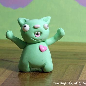 Crazy Green Pig Figurine with Pink Heart - Fun Desk Accessory - Handmade Original Geeky Polymer Clay Sculpture