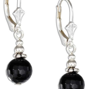 STERLING SILVER SILVER AND FACETED ONYX BEAD EARRINGS ON LEVERBACKS