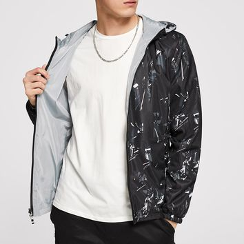 Men On Both Sides Wear Hooded Windbreaker Jacket