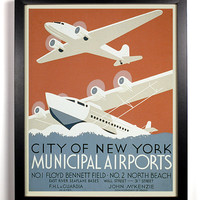 New York Airport Airplane Show 1930s Americana Print,  8 x 10 Antique American Government Funded Programs Posters, Buy 2 get 1 FREE