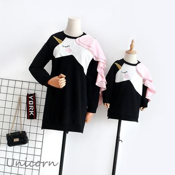 Mother Daughter Dresses Unicorn Family Look Mom Daughter Dress Clothes Ruffle Long Sleeve Mommy and Me Family Matching Clothes