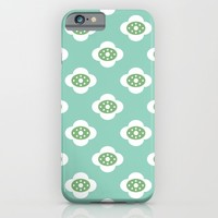 flower joy - teal and green iPhone & iPod Case by Her Art