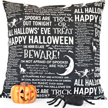 Script Halloween Pillow Cover Black White Ghost Cat Moon Decorative 18x18