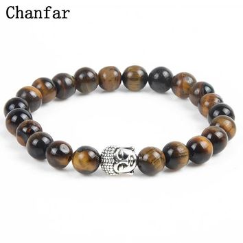 Chanfar Antique Silver Plated Buddha Bracelet Tiger Eye Lava Natural Stone Bracelet Bangle