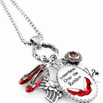 Wizard of OZ Necklace, Ruby Red Shoes