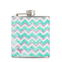 Monogram Chevron Girly Teal Pink Glitter Hip Flasks
