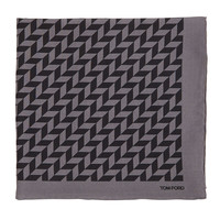 Men's Geometric-Print Silk Pocket Square, Black/Gray - Tom Ford - Blk/Grey