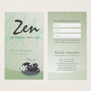 ZEN Stone Bamboo SPA Massage Therapist Appointment Business Card