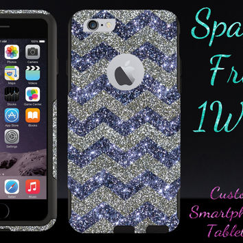 "OtterBox Commuter Series Case for 4.7"" iPhone 6 - Custom Glitter Case for 4.7"" iPhone 6 - Smoke Small Chevron White Gold/Black"