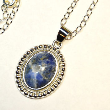 Sodalite necklace, sodalite and silver, healing jewelry, Montana made, blue and white gemstone, bridesmaid gift, blue pendant, blue necklace
