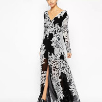 Black Floral Print Long-Sleeeve Chiffon Maxi Dress With Slit