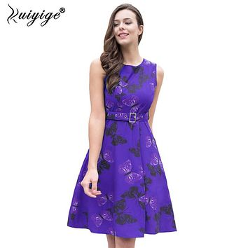 RUIYIGE 2018 Fashion Sashes Empire Print Floral Dress High Waist O-Neck Knee Length Boho Robe Casual Ball Gown Summer Vestidos
