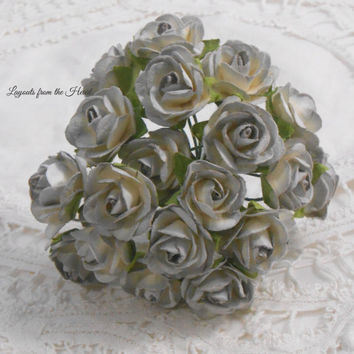 Prima Classics Mulberry Paper Mini Roses Light Grey Gray Shaded set of 20  Embellishment Flowers for crafting, scrapbooking, millinery stems