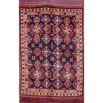 Oriental Qashqai Persian Wool Tribal Rug, Red/Blue