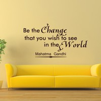 Wall Decals Mahatma Gandhi Quote Decal Vinyl Sticker Saying Be the Change That You Wish to See in the World Yoga Bedroom Room Home Decor Mural Sb5