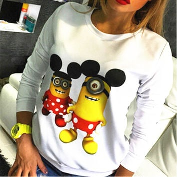 New style Minions Printed Hoodies 2016 Fashion Women Hoodies Cotton Sweatshirts Women Casual Loose Female Moletom Sudaderas