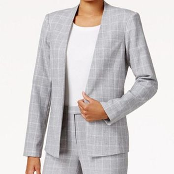 ONETOW TOMMY HILFIGER PLAID OPEN-FRONT JACKET