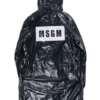 MSGM Women's Black Zip Up Hooded Long Raincoat