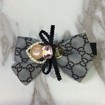 GUCCI Women Fashion Rhinestone Bow Hairpin Headwear
