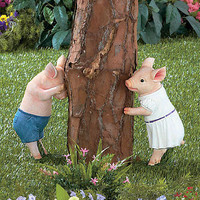 "Charming Hide & Seek Pig Statues Choose From Boy ""OR"" Girl Country Yard Garden"