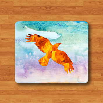 Bird FIRE Pheonix Watercolor Fantasy Art Mouse Pad Black Drawing Desk Deco Rubber FireBird MousePad Ice Mountain Photography Animal Natural