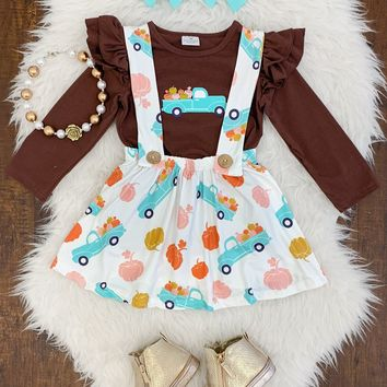 PUMPKIN PATCH TRUCK SUSPENDER SKIRT SET