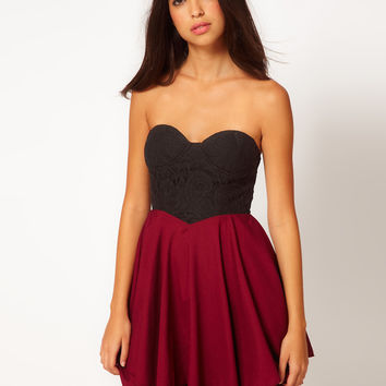 Club L Skater Dress With Lace Sweetheart Neckline