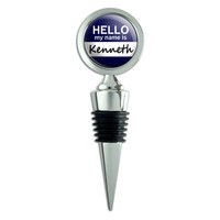 Kenneth Hello My Name Is Wine Bottle Stopper
