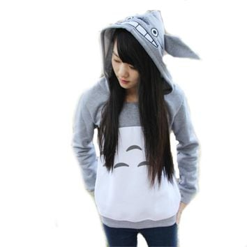 New anime cartoon cute my neighbor Totoro hoodies and sweatshirt with ears style for women hooded pullovers gray cotton BS09