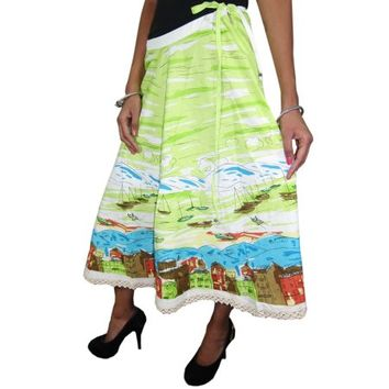 Mogul Women's Boho Long Skirt Cotton Printed Green Flared Hippie Beach Wear Summer Fashion Skirts - Walmart.com