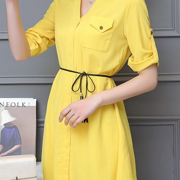 Streetstyle  Casual Asymmetric Hem Flap Pocket Plain Roll-Up Sleeve Blouse