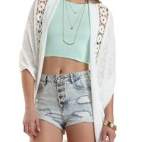 Daisy Crochet Cocoon Cardigan by Charlotte Russe - Ivory