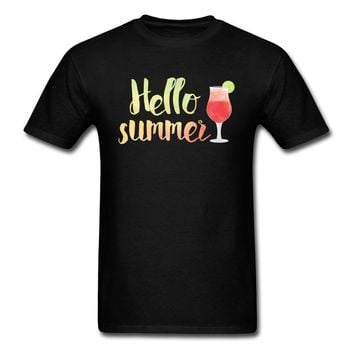 Hello Summer Drinks Watercolor T Shirts - Alcohol Tee