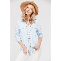 Women's Lace Up Blouse Top