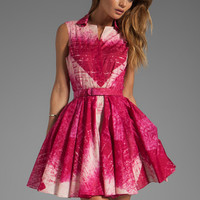 Halston Heritage Sleeve Dress With Flared Skirt and Belt in Raspberry Reflected Diamond Print
