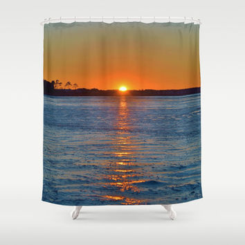 Frozen Bay Sunset Shower Curtain by Beach Bum Pics