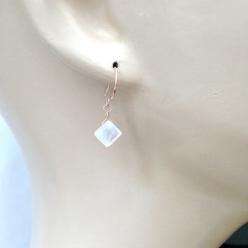 Moonstone Earrings Rose Gold Fill, Wire Wrapped, Minimalist Jewelry, Simple Everyday, White Gemstone Slice