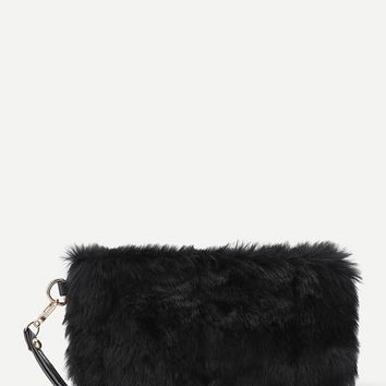 CC Faux Fur Furry Floral Crossbody Shoulder Handbag Wristlet Clutch Purse