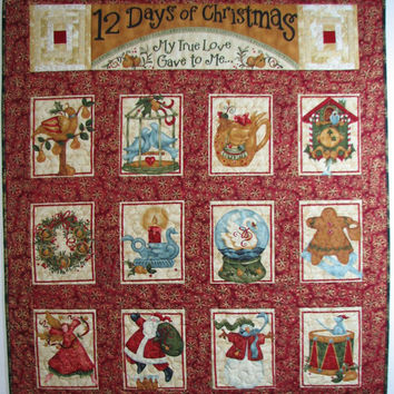 Quilted Wall Hanging , Christmas Wall Hanging , 12 Day of Christmas , Folk Art Wall Hanging