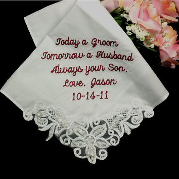 Couture Wedding Hanky Personalized White Cotton Bridal Handkerchief
