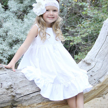 Girls white dress, ivory, toddler, beach dress, summer girls, affordable, sizes 12/18 months,2t,3t,4t 5,6,7,8