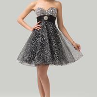 Black  Strapless Sequined Homecoming Dress