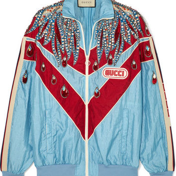 Gucci - Paneled embellished shell track jacket