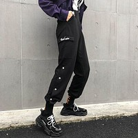 Women Fashion Letter Embroidery Split Buttons Leisure Pants Sweatpants Trousers