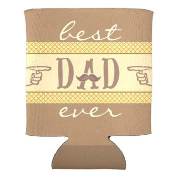 Hipster Mustache Father Best Dad Ever Can Cooler