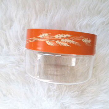 Vintage PYREX Orange Harvest Wheat Store N' See Plastic & Glass Canister