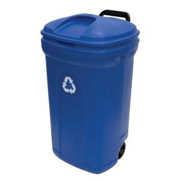 United Solutions® TB0056 Blow Molded Recycling Trash Can, 34 Gallon, Blue