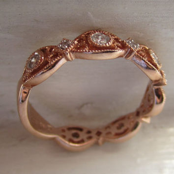 Bezel Diamond 3/4 Eternity Engagement Promise Wedding Band Ring Milgrain 14kt Rose Gold Stacker Ring Right Hand Ring Anniversary Ring