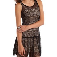 Drop Waist Eyelash Lace Dress: Charlotte Russe